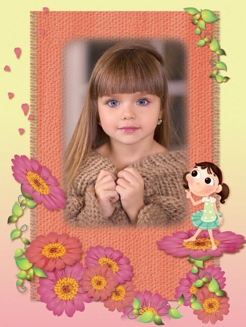 moldura crianca flores 1